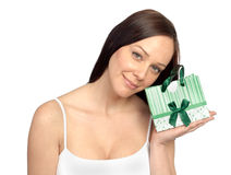 Portrait of a beautiful woman with a present Stock Images