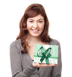 Portrait of a beautiful woman with a present Royalty Free Stock Photos