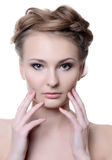 Portrait of the beautiful woman with a professional make-up Stock Image