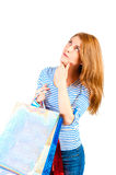Portrait of beautiful woman with purchases ponder Stock Photos