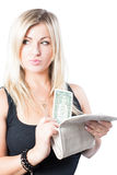 Portrait of beautiful woman with purse and dollar Royalty Free Stock Photo