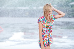 Portrait of a beautiful woman in rain Royalty Free Stock Image