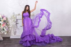 Woman in billowing dress Royalty Free Stock Photography