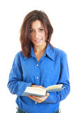 Portrait of beautiful woman reading a book stock photo