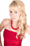 Portrait of beautiful woman in red Stock Photos