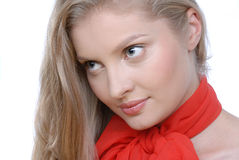Portrait of beautiful woman with red bow Stock Photo
