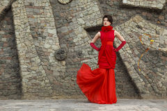 Portrait of beautiful woman in red dress Royalty Free Stock Photo