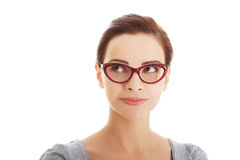 Portrait of beautiful woman in red eyeglasses. Stock Images