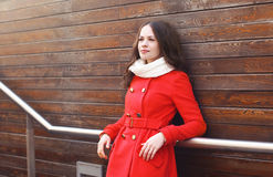 Portrait of beautiful woman in red jacket Royalty Free Stock Photo