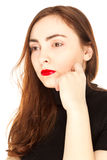Portrait of beautiful woman with red lips Stock Image