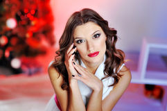 Portrait of a beautiful woman with red lips Royalty Free Stock Photography