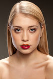 Portrait of beautiful woman with red lips Stock Images