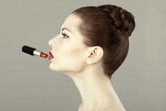 Portrait of beautiful woman with red lipstick Stock Image