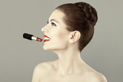 Portrait of beautiful woman with red lipstick Stock Images