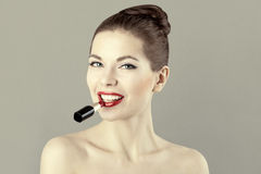 Portrait of beautiful woman with red lipstick Royalty Free Stock Image