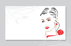 Portrait of a beautiful woman with a red rose on her neck. Visit card Royalty Free Stock Image