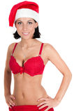 Portrait of beautiful woman in red santa hat Royalty Free Stock Photo