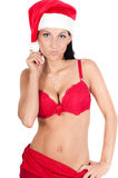 Portrait of beautiful woman in red santa hat Stock Photo