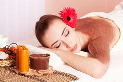 Beautiful woman relax in spa stock photography