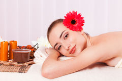 Beautiful woman relax in spa. stock photo