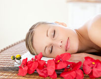 Portrait of a beautiful woman relaxing in a Spa Royalty Free Stock Images