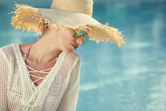 Portrait of beautiful  woman relaxing in swimm Stock Photos