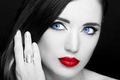 Portrait of beautiful woman with ring. Royalty Free Stock Photos