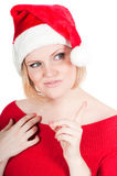 Portrait of beautiful woman santa Stock Photography