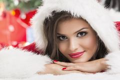 Portrait of beautiful woman Santa helper Stock Photos