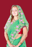 Portrait of a beautiful woman in sari Royalty Free Stock Image