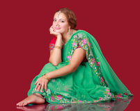 Portrait of a beautiful woman in sari Stock Image