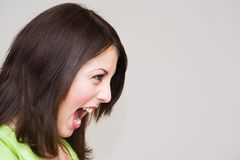 Portrait of a beautiful woman screaming Royalty Free Stock Images