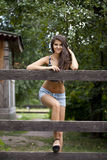 Portrait of a beautiful woman in sexy shorts Royalty Free Stock Photos