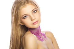 Portrait of beautiful woman with shiny makeup. Studio shot. Portrait of beautiful blonde woman with shiny makeup. Studio shot Stock Image