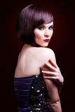Portrait of a beautiful woman in short brunette bob Stock Images