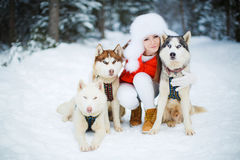 Portrait of a beautiful woman with a Siberian Husky. Stock Photos