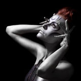 Portrait of beautiful woman with silver bodyart Royalty Free Stock Photos