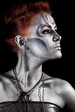 Portrait of beautiful woman with silver bodyart Royalty Free Stock Photography