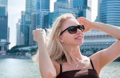 Portrait of beautiful woman in Singapore Stock Photos