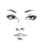 Portrait of beautiful woman, sketch Stock Photography