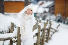 Portrait of a beautiful woman at a ski resort. Stock Image