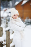 Portrait of a beautiful woman at a ski resort. Stock Image