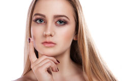 Portrait of a beautiful woman skin care. Young girl cares for the skin royalty free stock photography