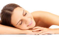 Portrait of a beautiful woman sleeping royalty free stock images