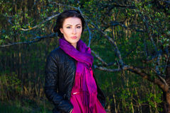 Portrait of beautiful woman in spring forest Stock Photo