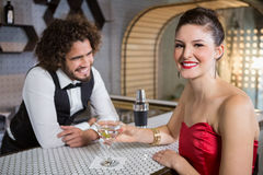 Portrait of beautiful woman standing at bar counter. Portrait of smiling beautiful women standing at bar counter in bar Royalty Free Stock Photo