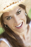 Portrait of Beautiful Woman In Straw Cowboy Hat Royalty Free Stock Photo