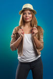 Portrait of beautiful woman with straw hat Royalty Free Stock Photo