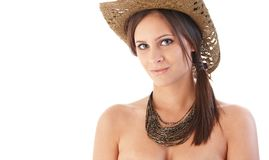 Portrait of beautiful woman in straw hat Royalty Free Stock Photo