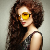 Portrait of beautiful woman in sunglasses on white background Royalty Free Stock Photography